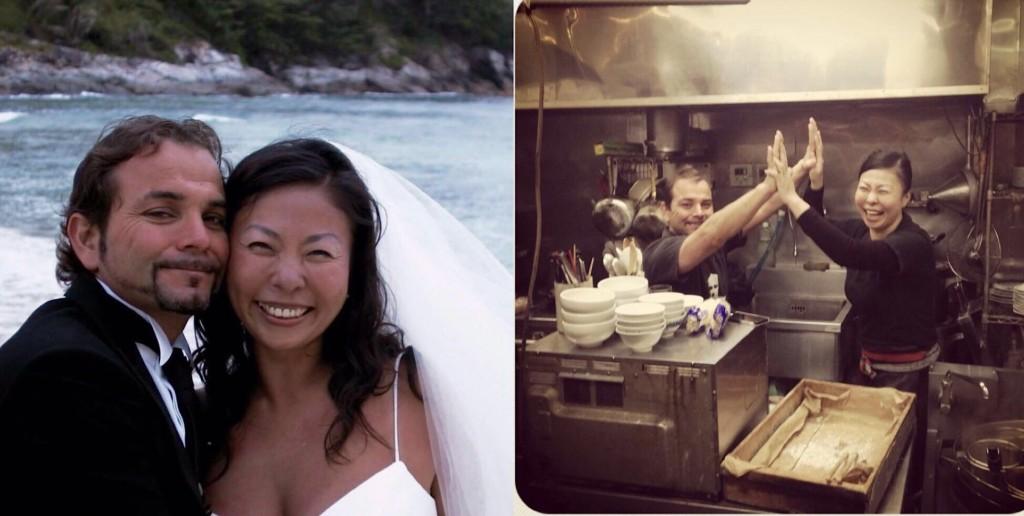 結婚記念写真と仕事中ハイタッチした二人(長野知枝さんの提供写真)
